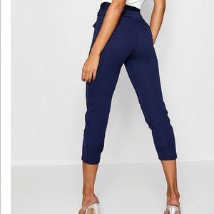 Boohoo high waist slim fit trousers navy